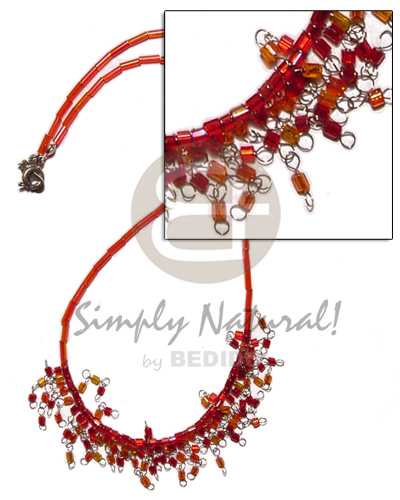 Cebu glass beads in red tones choker necklace
