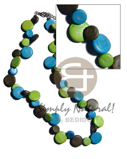 Unisex single row black blue green coco sidedrill choker necklace