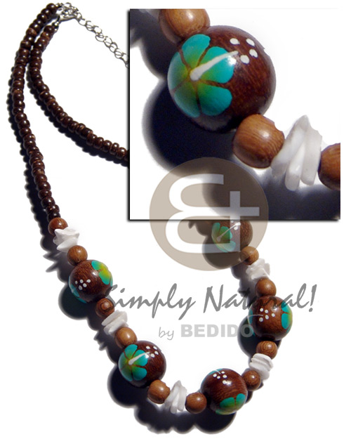 Handmade 4-5mm coco pokalet. natural brown choker necklace