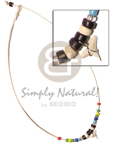 Native cord multicolored beads coco pokalet choker necklace