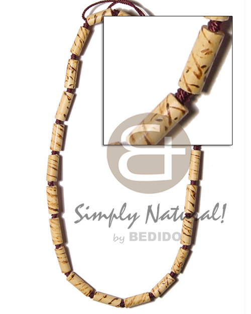 Native bamboo macrame splashing wood choker necklace