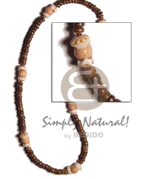 Fashion 2-3mm coco natural brown choker necklace
