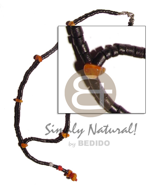 Cebu 2-3mm black coco heishe tassle choker necklace