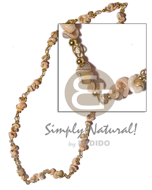 Philippine popcorn luhuanus in metal looping choker necklace