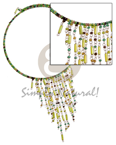 Fashion dangling green tones glass beads cleopatra necklace