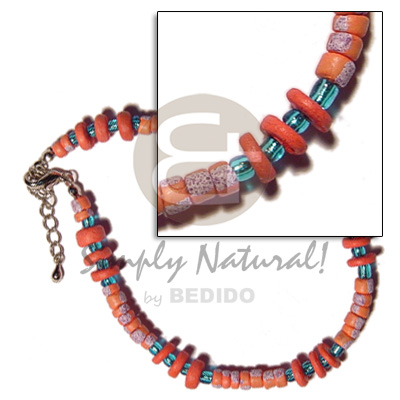 Philippine 4-5mm orange coco pokalet. coco anklets