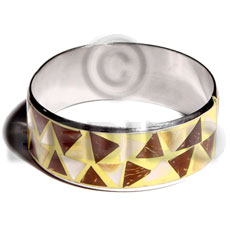 Wholesale laminated inlaid crazy cut coco coco bangles