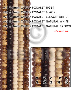 Native 2-3mm coco pokalet bleach coco beads