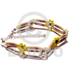 Philippine 2 rows sig-id wood tube coco bracelets