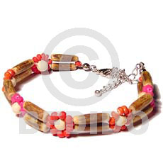Ladies 2 rows sig-id wood tube coco bracelets