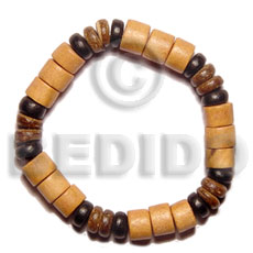 Ethnic elastic wood and coco bracelet coco bracelets