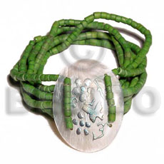 Native 5 layer elastic 2-3mm green coco bracelets