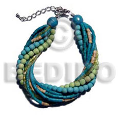 Teens twisted 4 rows aquamarine 2-3mm coco bracelets