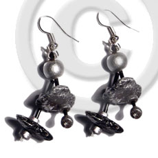 Ladies dangling double row black coco coco earrings