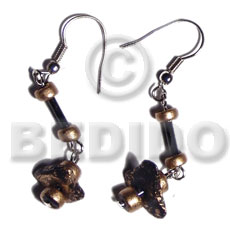 Philippines dangling single row black coco coco earrings