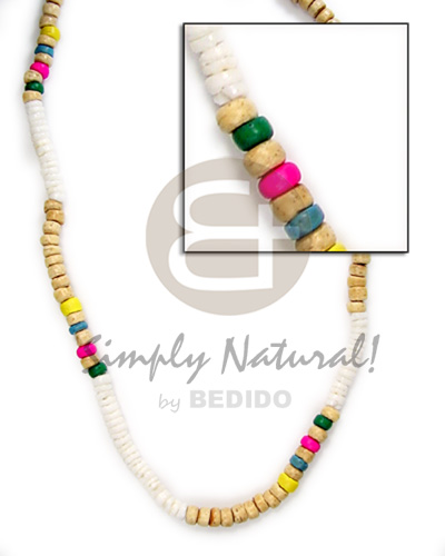 Native 4-5mm wht shell grn nat wht grn pink yel blu coco coco necklace