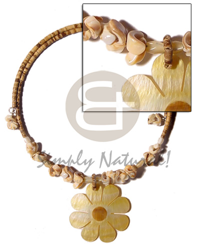 Native 2-3mm tiger coco heishe coco necklace