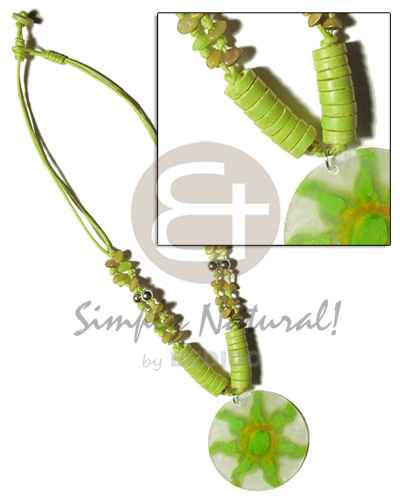 Philippines 2 layer knotted lime green coco necklace