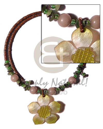 Ladies 2-3mm reddish brown coco heishe coco necklace