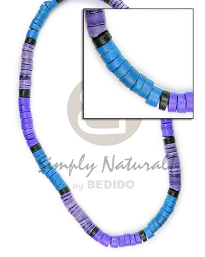 Natural 4-5mm coco heishe blue lilac violet combination coco necklace
