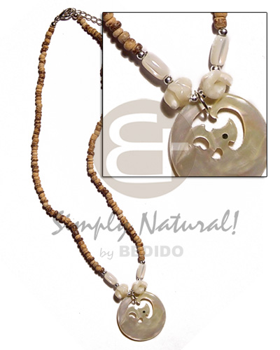 Laminated Small Wood Pendants with Coconut Bark Decor Handmade from the Philippines 2 Pendants
