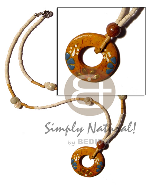 Natural 2-3mm coco heishe bleach coco necklace
