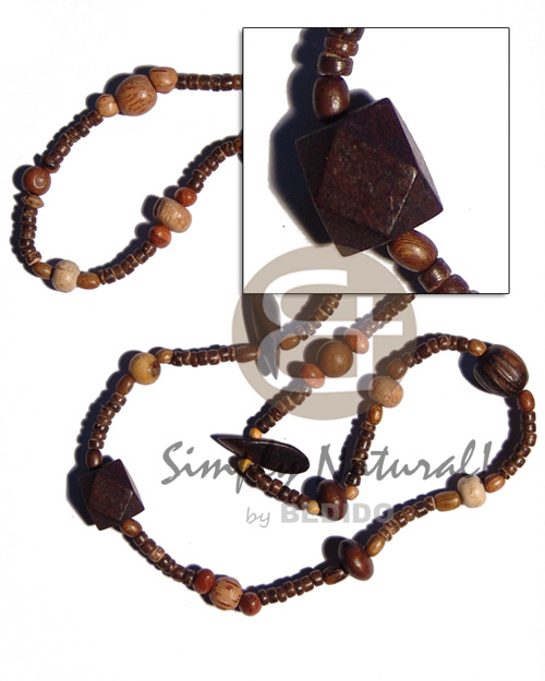 "Fashion ""kalandrakas""- asstd. wood beads per coco necklace"