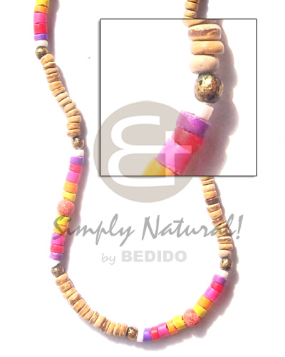 Fashion 4-5mm tiger pukalet in heishe coco necklace