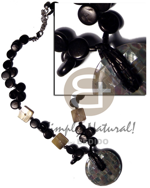 Native 10mm black coco sidedrill coco necklace