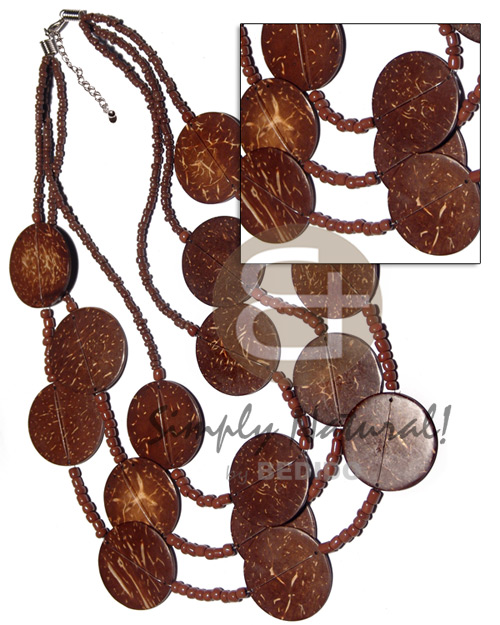 Natural 3 graduated layers 16in 17 in 18in brown coco necklace
