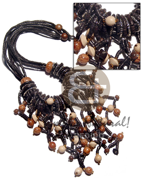 Unisex cleopatra 5 rows 2-3mm coco necklace