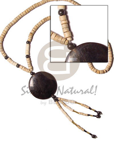 Ladies 4-5 coco heishe nat wood coco necklace