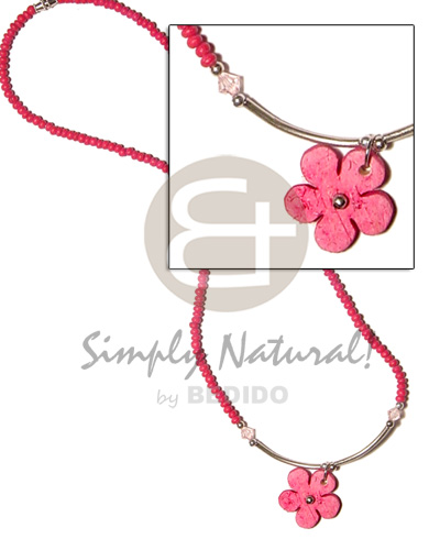 Philippines 2-3mm fuschia pink coco pokalet coco necklace