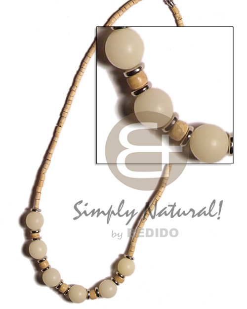 Ethnic 2-3 coco heishe natural white coco necklace