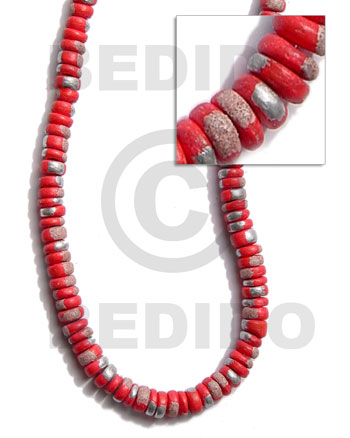 Ladies 4-5mm coco pokalet. red coco splashing beads