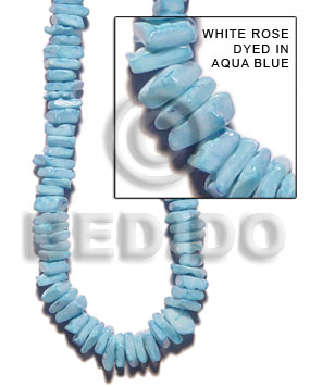 Ethnic white rose dyed in aqua crazy cut shell beads