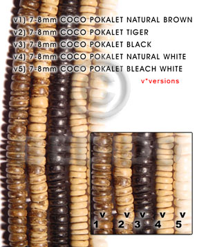 Natural 7-8mm coco pokalet black dyed colored coco beads