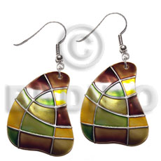 Handmade dangling handpainted and colored round embossed art deco earrings