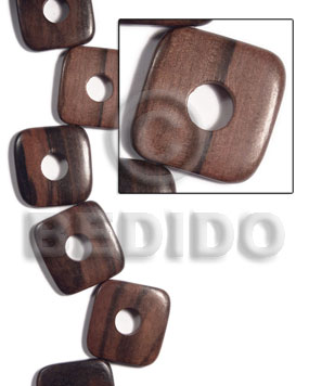 Natural 35mmx35mmx5mm square round edges flat square wood beads