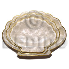 Ladies capiz clam plate gold trim gifts & home table decor set