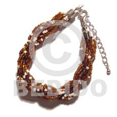 Fashion 12 rows brown white twisted glass glass beads bracelets