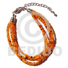 Natural 6 rows orange multi layered glass beads bracelets