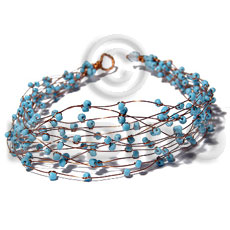Philippine 8 rows copper wire cuff glass beads bracelets