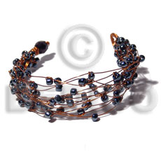 Natural 8 rows copper wire cuff glass beads bracelets