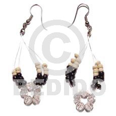 Philippines floating 2-3mm black coco pokalet glass beads earrings