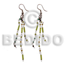 Native dangling looped cut beads glass beads earrings
