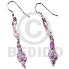 Philippines dangling lavender 4-5 coco pokalet glass beads earrings