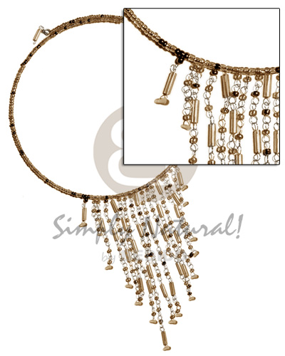 Philippines dangling gold tones glass beads glass beads necklace