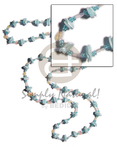 Unisex 36 in. continuous powder blue glass beads necklace
