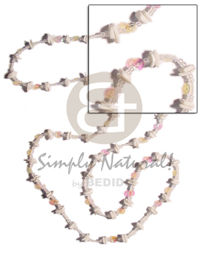 Wholesale 36 in. continuous white rose glass beads necklace